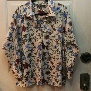 Zara Basic flora blouse Sz L